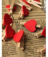 100pcs Red Heart Wood Clips,Mini Wooden Pegs,Wedding Party Hanging Decor... - $9.40