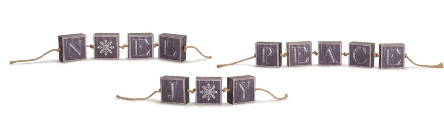 Vintage Look Noel Joy Peace Block Garlands (Set of 3) 3.25H