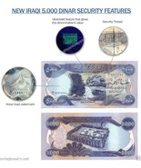 5000 IRAQI DINAR UNCIRCULATED-REGISTERED W/U.S. TREASURY - €6,71 EUR