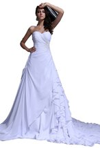 Albizia Ruffle Beaded Sweetheart Chapel Bridal Gown Wedding Dress(10,Ivory) - $235.00