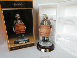 EMMETT KELLY JR COLLECTIBLE CLOWN FIGURINE OVER A BARREL SIGNED 1989 BOX... - $39.55