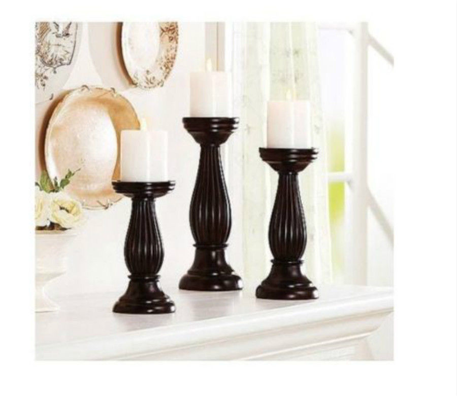 Candle holders set pillar 3 pc holder home decor table mantel mahogany gift candle holders Home decor candlesticks