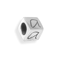 Oxidized Sterling Silver Letter Cube Beads - £18.77 GBP