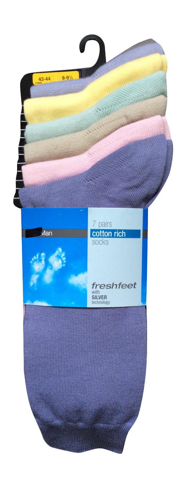 7 Pares Ex Almacén Freshfeet Para hombre Calcetines De Algodón plata tecnología