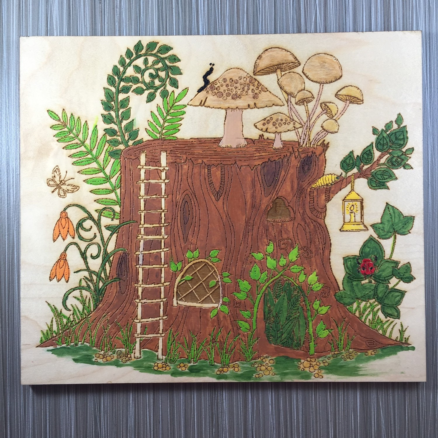Tree Stump Wall Decor : Tree stump house hand painted wall decor plaques signs