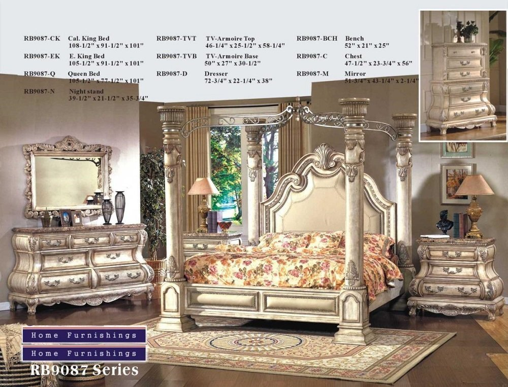 Arianna Antique White Wash Solid Queen Canopy Bedroom Set Furniture