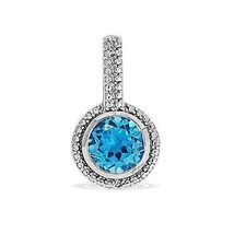 Natural Shining Blue Topaz Gemstone 925 Sterling Silver Pendant Jewelry SP0355 - $25.46