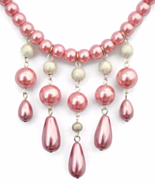 Rose Pink Pearl Fringe Necklace and Earrings Jewelry Set - $34.90+