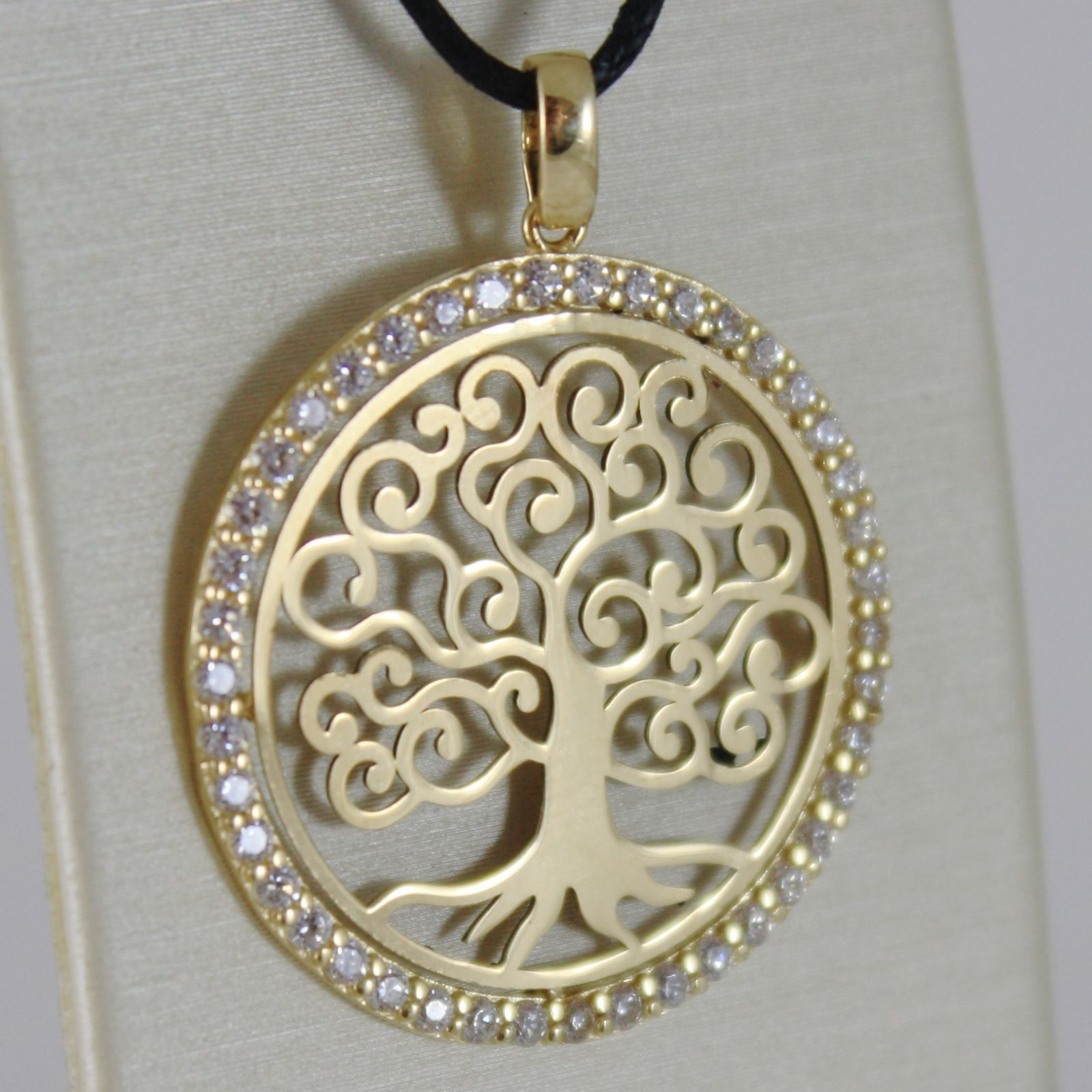 18K YELLOW GOLD TREE OF LIFE PENDANT 25 MM, 1 INCHES, ZIRCONIA, MADE IN ITALY