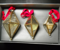 Saks Gray Christmas Ornaments Three Diamond Shape Multi Size Glass Brass India - $18.99
