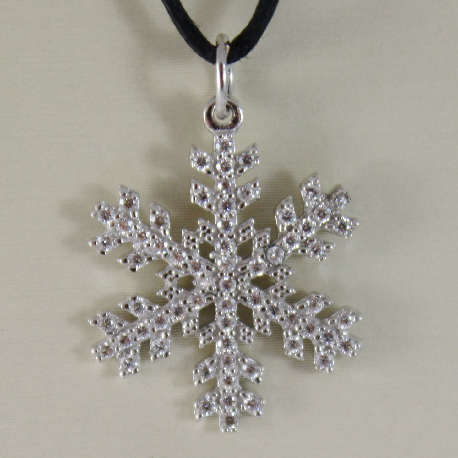 18K WHITE GOLD SNOWFLAKE PENDANT 25 MM, 0.98 INCHES, ZIRCONIA, MADE IN ITALY