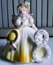 "Joseph Originals~Birthday Angel Figurine~Year 8~Eight~4 3/4"" Tall~Yellow & Gold - $12.19"