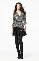 DIANE von FURSTENBERG JILL VINTAGE TRIBAL DIAMOND NEUTRAL TOP BLOUSE - $87.12