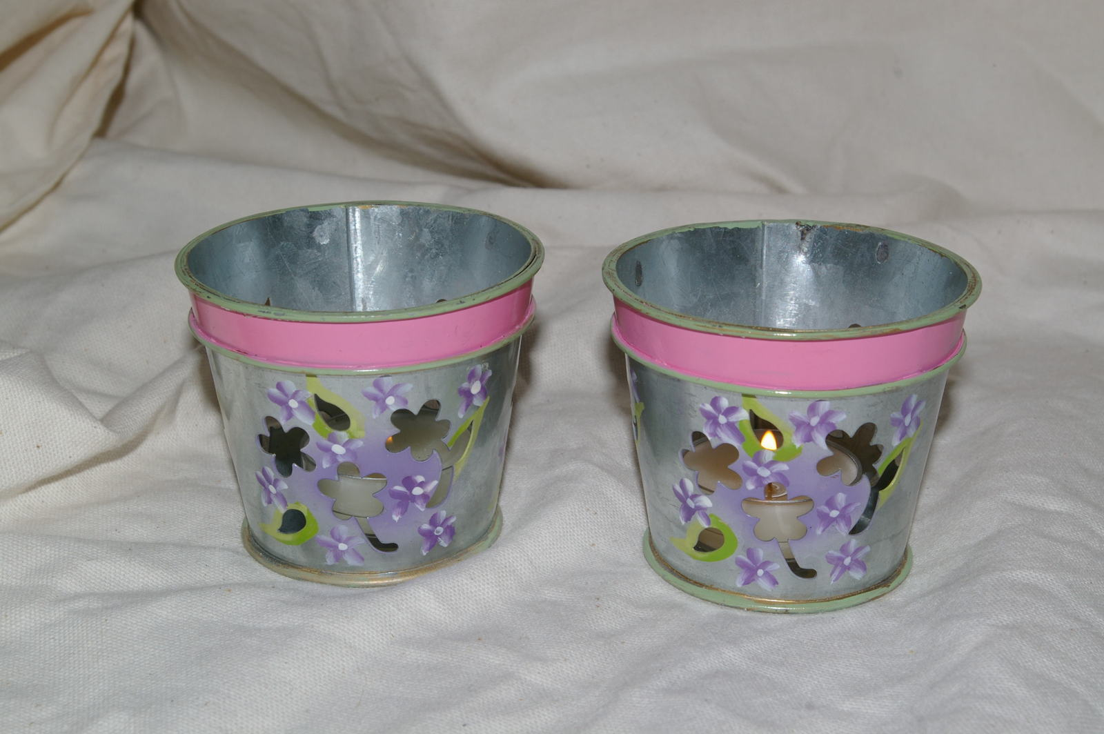 PartyLite Lilac Flower Pot Tealight Holders Party Lite