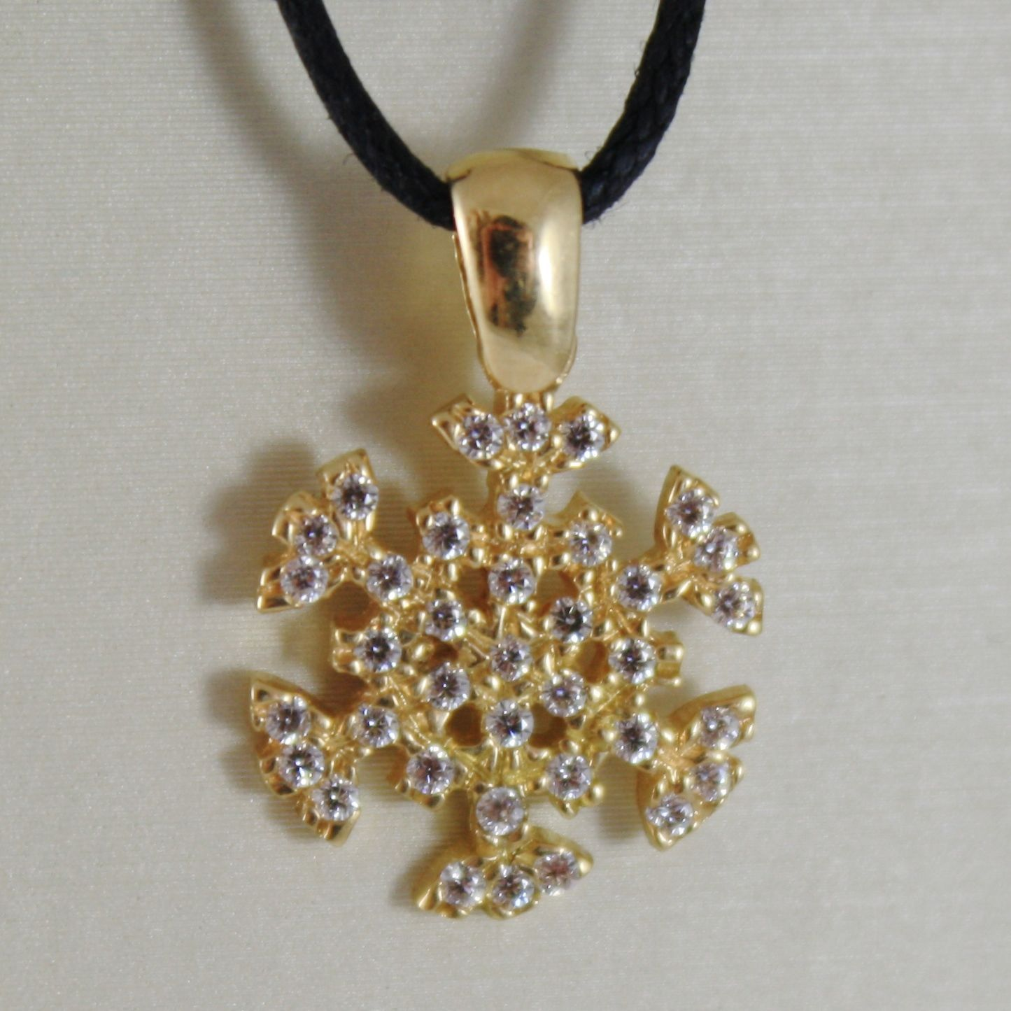 18K YELLOW GOLD SNOWFLAKE PENDANT 19 MM, 0.75 INCHES, ZIRCONIA, MADE IN ITALY