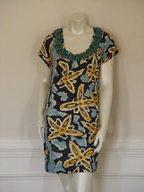 DIANE von FURSTENBERG MOCA w/BEADS FIJI FLOWERS DRESS - US 10 - UK 14 - $127.55