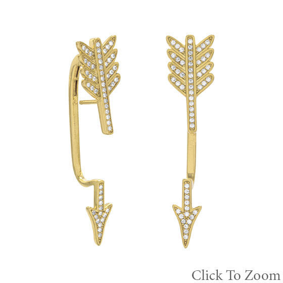 18 Karat Gold Plated Sterling Silver Base Signity CZ Arrow Earrings