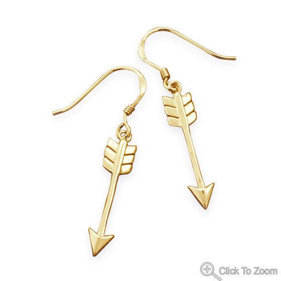 14 Karat Gold Plated Sterling Silver Aim High Arrow Earrings