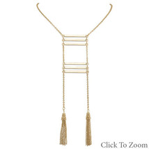 Gold Tone Fashion Ladder Necklace with Tassel Drop