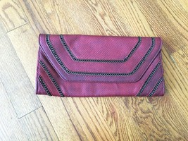 Urban Expressions Dark Red with Chain Decorations Fold Over Vegan Clutch - $21.49