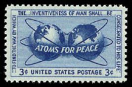 1955 3c Atoms for Peace Scott 1070 Mint F/VF NH - $0.99