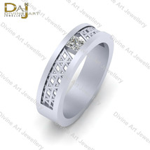 Solitaire 0.18ct Princess Cut Diamond Wedding Band Mesh Design Engagemen... - €73,18 EUR+