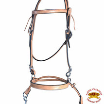Western Horse Headstall Tack Bridle American Leather Pull Bitless Reins U-S-VX - $84.99