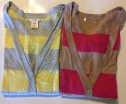 Lot Of 2 Joe Fresh Kid Girl Cardigan Yellow Fuschia Stripe Sz 8 100% Cotton - $8.72