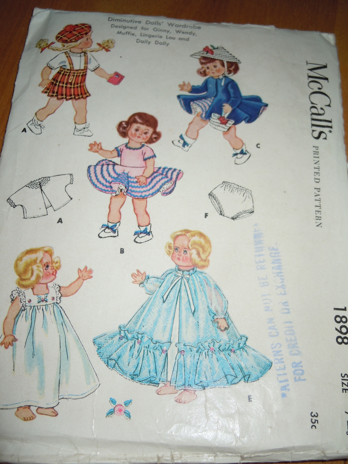 1965 Vintage Doll Clothes Pattern 7 or 8 inch Ginny Wendy Muffie Lingerie Lou