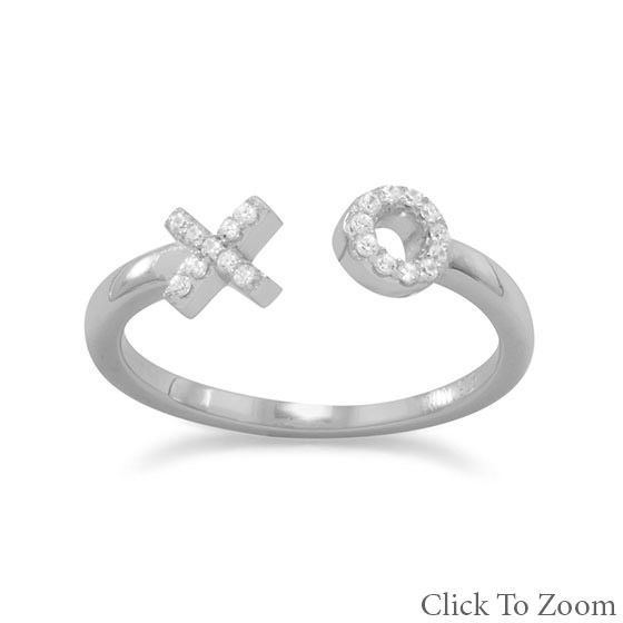 Rhodium Plated tarnish free Sterling Silver CZ   X and O Ring kisses and hugs