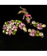 Vintage stunning signed Weiss Brooch earrings & matching lizard ring cli... - $275.00