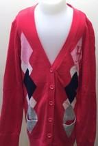 Tommy Hilfiger Kid Girl Preppy Cardigan Argyle Sweater Hot Pink L 12-14 ... - $9.46