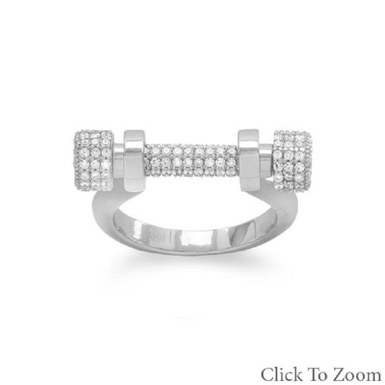 Rhodium Plated Sterling Silver tarnish free Signity CZ removeable Barbell Ring