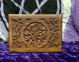 Hand carved wooden tree of life charged box - $24.75