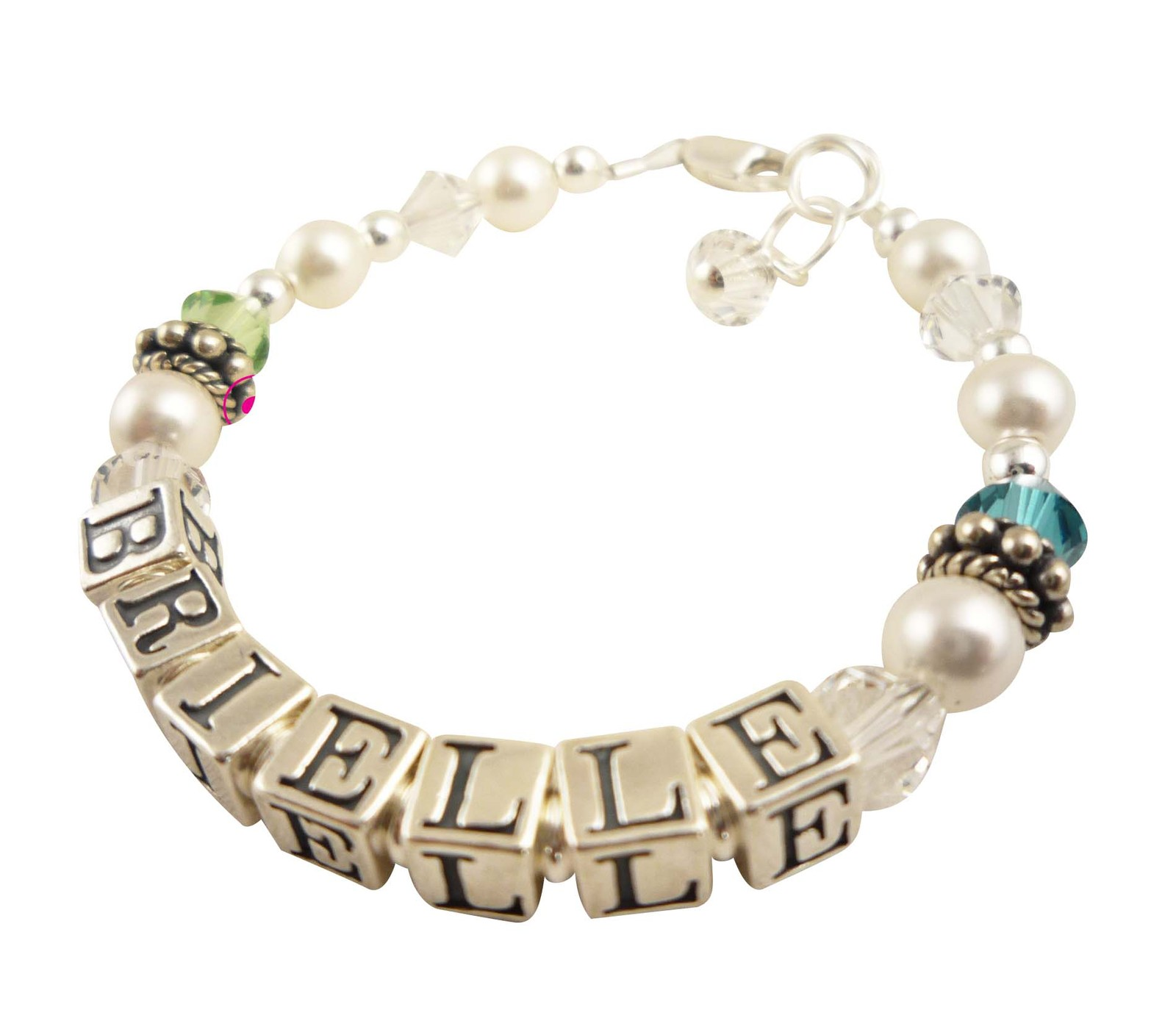 Blue & Green Pearl Girl's Sterling Silver Name ID Bracelet
