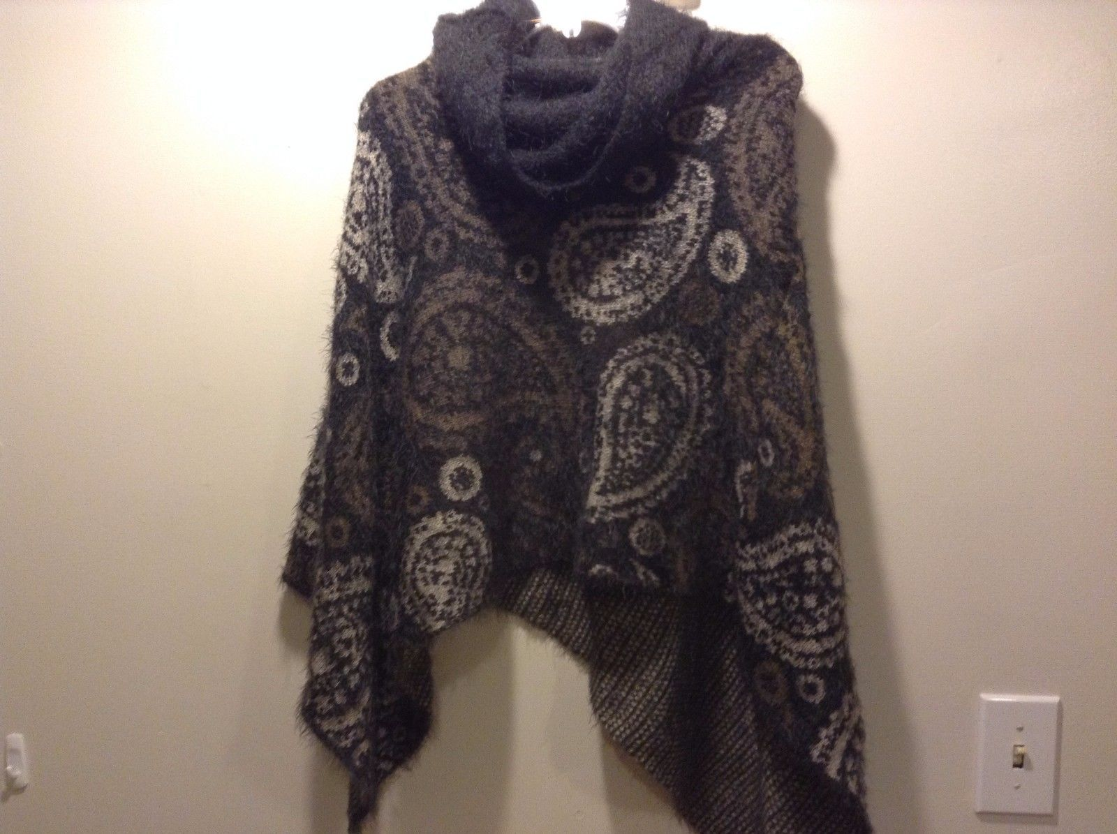 Dark Gray Brown White Paisley Tear Drop Turtle Neck Poncho Frayed Ends