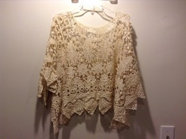 Howard's Light Yellow Floral Pattern Loose Knit Poncho 100% Cotton