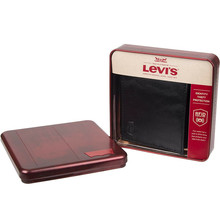 Levi's Black Bifold RFID Embossed Logo Credit Card ID Wallet for Men image 1