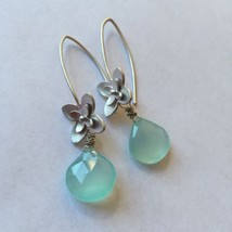 SWEET FLOWER PERUVIAN BLUE CHALCEDONY  Earrings Silver - $19.60