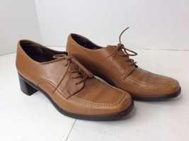 Rockport Womens Caramel Tan Brown Leather Oxford Heels Lace Up Work Shoe... - $27.80