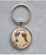 Custom Your Baby's Name Baby's Feet Choose Color Birthday Birth Date Key... - $14.00+