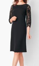 Talbots 6P Petite Black Lace 3/4 Sleeve Ponte Crepe Dress - $39.90