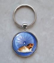 Hamster on Wheel Running Cute Tiny Animal Keychain - $14.00+