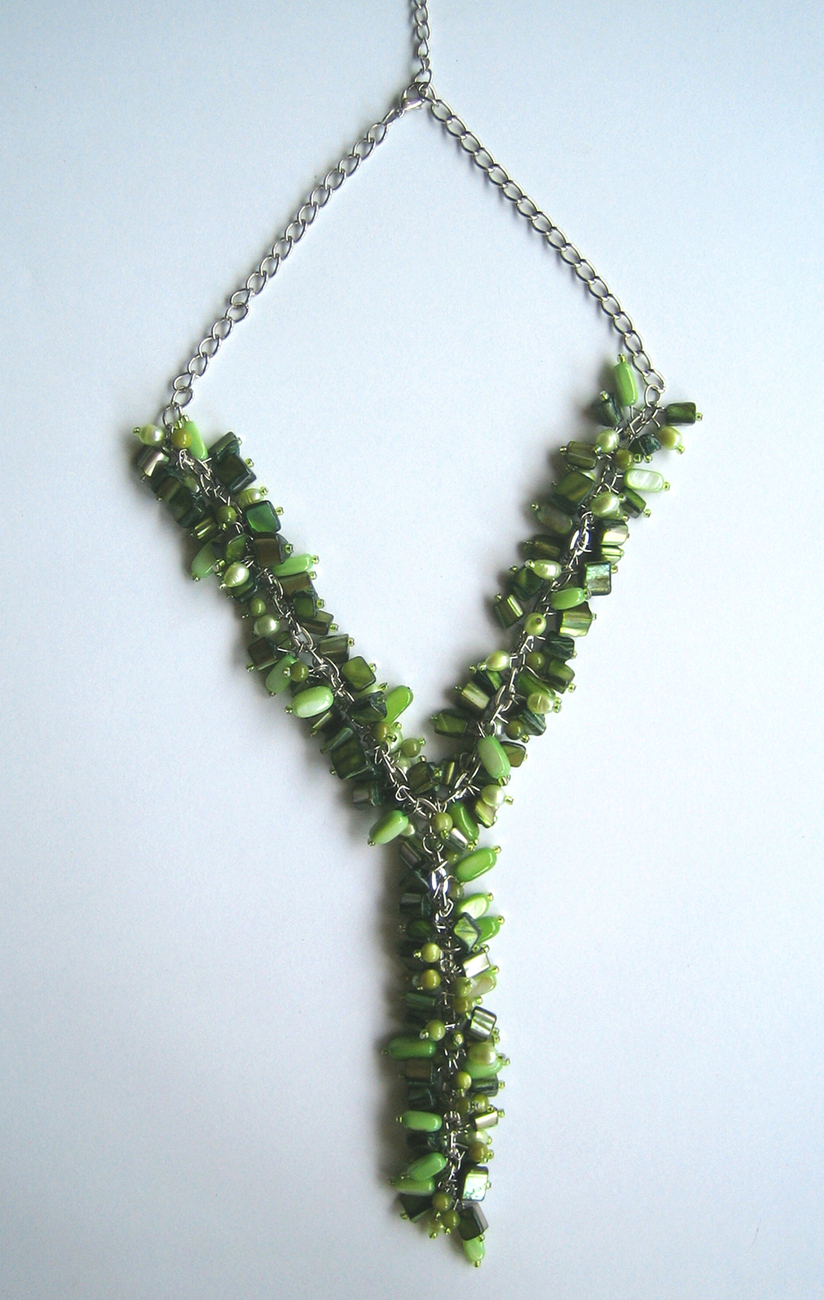 Enchanting Forest. Green Seashells And Bead Statement Necklace