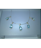 Blue Topaz Diamond Necklace Two Tone White Yell... - $755.00