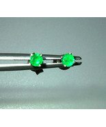 Colombian Emerald Solitaire Stud Earrings 14kt White Gold 0.32cttw Natur... - $329.00