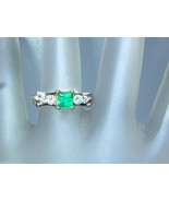 Colombian Emerald Diamond Ring Engraved Two To... - $1,399.00