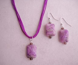 Plum Purple Ocean Jasper Earrings Necklace Set Beaded Gemstone Handmade ... - $45.00