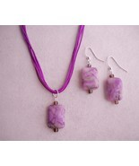 Plum Purple Ocean Jasper Earrings Necklace Set Beaded Gemstone Handmade Pierced - £35.33 GBP