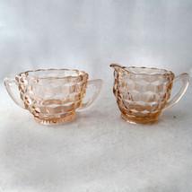 Cube Block Glass Creamer and Sugar Bowl Pink - $19.98
